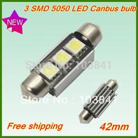 Retail 12pcs/lot 42mm /41mm White canbus Lamp 12V 3SMD 5050 LED Car dome Light Bulbs NO Error LED Festoon Light free shipping