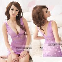Sexy soft yarn sleepwear short skirt lace tulle uniform female temptation transparent nightgown