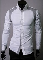 Free shipping New Fashion Men's slim fitted Plover case shoulder dress shirts man's long sleeve blouse  tops