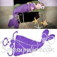Noble Purple Color Crochet Mermaid Set Baby Infant Photo Props Kids Mermaid Shell Set  1set  MZS-039
