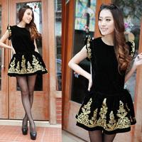 2012 baroque vintage gold thread embroidery ruffle hem one-piece dress high waist short skirt set twinset 2556