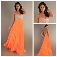 Simple A-line Chiffon Empire Sweetheart  Evening Dress with Stunning Beaded  Long Cheap coral  Bridesmaid Dress Prom Gown