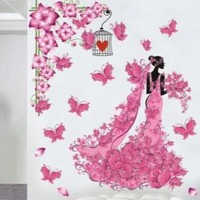 2013 new Free Shipping 3d wall paper wall stickers romantic lovers ofhead decorative painting 2 girl wall sticker
