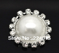 Free Shipping  ! 10 pcs White K Set Clear Crystal Faux Pearl Acrylic  Round Bead Patch Fit DIY