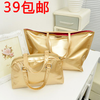 free shipping Fashion silver shopping bag big bags brief summer beach bag picture package handbag