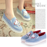 Denim wedges single shoes round toe wedges single shoes casual all-match Women single shoes