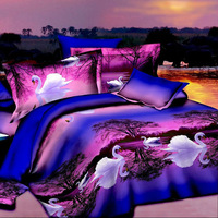 3D white Swan cheap cotton 4pc bedding set purple bedspread queen size Duvet/Comforter/quilt cover bedclothes bed sheet sets