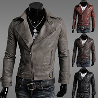 2013 New Fashion Short Design Motorcycle Leather Clothing Stand Collar Slim Male Leather Coat Oblique Zipper Jacket in Stock