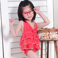 free shipping Child swimwear female child boy baby layered dress one piece swimwear 261