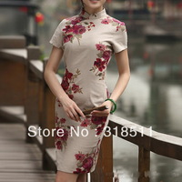 free shipping China Cheongsam dress China Style , fashion dress Rose collar short-sleeved improved linen surplice dress