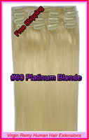 "Hot Sale15"" 18"" 20"" 22"" Clip In Virgin Remy Human Hair Extensions Colour #60 Platinum Blonde 70g"
