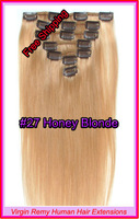 "Hot Sale15"" 18"" 20"" 22"" Clip In Virgin Remy Human Hair Extensions Colour #27 Honey Blonde 70g"