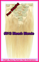 "Hot Sale15"" 18"" 20"" 22"" Clip In Virgin Remy Human Hair Extensions Colour #613 Bleach Blonde 70g"