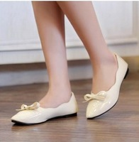 2013 candy color cute Pointy with a single shoe, fashion scoop shoes, flat shoes, ladies shoe, bows solid