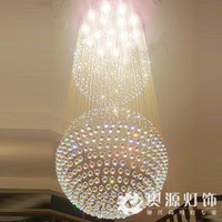 Large  crystal project light double round ball  stair lamp long  ball chandelier diameter 80cm.free shipping