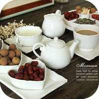 Porcelain ceramic dishes fruit plate coffee pot milk cup set dinnerware set