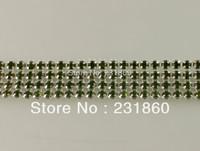 1 Yard 4 Rows Olivine Diamond Mesh Clear Rhinestone Wedding Banding Ornament