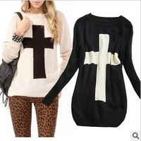 New Winter European and American Wild Fashion Women's Cross Long-sleeved Loose Sweater