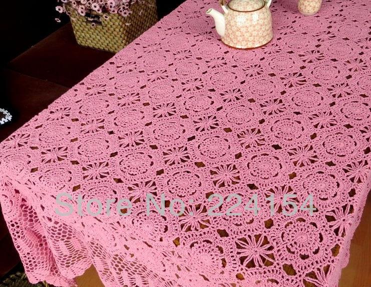 170x220 CM 100% cotton thread handmade crochet pink tablecloths ~ FREE SHIPPING(China (Mainland))