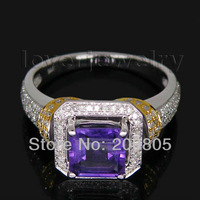 Jewelry Sets Vintage Princess 7x7mm 14Kt Two Tone Gold Diamond Amethyst Ring G090326