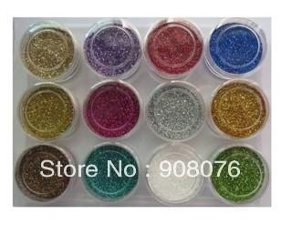Best Selling!High Quailty 12 Colors Nail Art Glitter Shine Acrylic Powder Fine Dust 5 barrels/lot+Free Shipping
