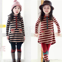 2013 autumn stripe bow girls clothing long-sleeve top legging set tz-0900