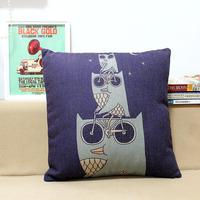 Cycling Owl 1pcs 45 * 45cm Linen Cotton Cushions Home Decor Monopoly Wholesale Free Shipping
