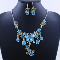 New Charm 6Colors Optional Flowers Butterfly Acrylic Alloy Necklace Earrings Bridal Wedding Jewelry Set