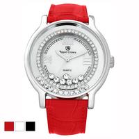 Factory direct sales3638 M/L  Royal crown watches fashion red rhinestone quartz ladies watch 10 pcs/lot free shipping
