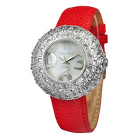 Wholesale Royal crown3790L  luxurious exquisite rhinestone sheet genuine leather strap watches 10pcs/lot free shipping