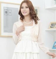 Color block cape summer short design female thin kaross chiffon long-sleeve cardigan coat 766