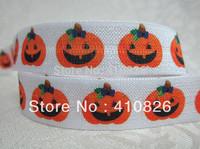 WM ribbon wholesale/OEM 5/8inch 724012 little Pumpkin Halloween Folded Over Elastic FOE Webbing 50yds/roll free shipping
