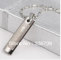 Designer jewelry High Quality 2013, Titanium Steel Corss Bible men and women Necklace,KY106