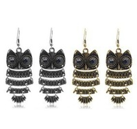 2013 Fashion bijoux jewelry Pendant earring Vintage Antique Bronze Owl Bohemian,B100