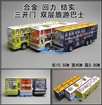 Toy car bus double layer bus model of tourist bus WARRIOR three door cartoon