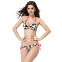 "2013 Free Shipping Sexy Beachwear Bikini,Charming Fashion Lady""s Swimwear Leopard Bikini,Bra and Underpant Swimsuit Bathing Set"