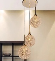 Simple modern gold crystal pendant lamp Art Chandelier living room restaurant dining room Round shaped design 3L Crystal Pendant