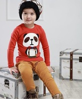 Fashion Children's Clothing New Style Spring Autumn Winter Boys Lovely Panda Pattern Long Sleeve Shirts Free Shipping 10pcs/lot
