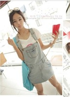 ladies fashion loose denim vintage pockets button decor korean new overalls short jeans free shipping A415-8008