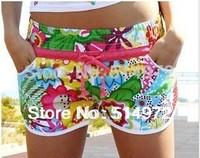 Sun Flower Print Swiming Short With Red Belt Women Sport Beach Short Hawaii Shorts Free Shipping