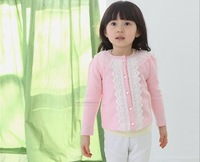 Girls Sweet girls casual yarn lace collar round neck cardigan jacket children 1183035533 lhq