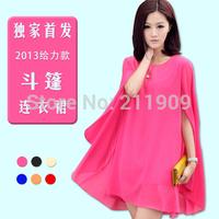 Free Shipping 2014 Korean version of Star Models Shawl Cloak Was Thin Bat Sleeve Loose Big Yards Chiffon Dress
