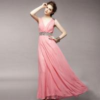 New arrival 2014 women's V-neck slim silk one-piece dress long design full dress slender waist dress