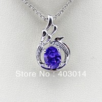 Free Shipping 925 Silver Jewelry 6x8mm Oval Cerated Amethyst and Cubic Zircon Pendant (PSJ0400)