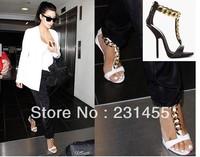 Free Shipping Brand Designer High Heel Sandals Fashion GZ Shoes Genuine Leather Open-toe Ladies Metal Chain Fashion Sandal