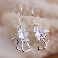 WE252   Promotion sale, 2015 New ,SILVER JEWELRY / Women  crystal earrings,  free shipping,  925 sterling silver Cat earrings