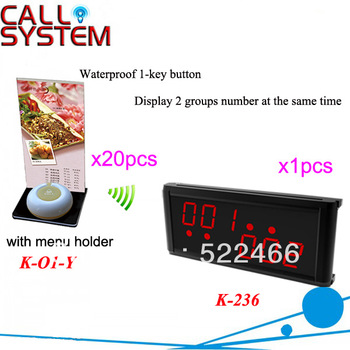 Wireless Paging System K-236+O1-Y+H for restaurant with 20pcs 1-key button with menu holder and 1pcs display DHL free Shipping