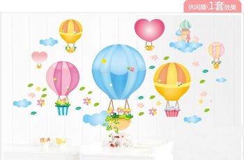 Hot sell Removable Balloon DIY Wall sticker Retail&Wholesale Cute Kid/Child Bedroom Cartoon home decoration Many styles