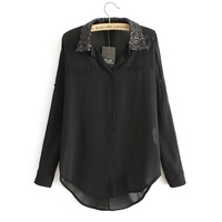 black white 2013 fashion europe brand long sleeve shirt loose paillette sequined collar princess chiffon plus size blouse 31