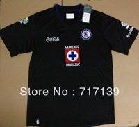 Wholesale Hot sale 2013 mx liga club mexico jersey,thailand high quality 13 blank soccer uniform away cruz azul black,mix order